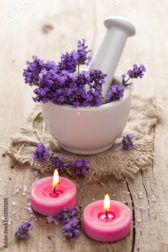 spa set with lavender flowers
