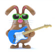 Chocolate bunny played guitar