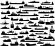 Set of 54 silhouettes of sea yachts, towboat and the ships