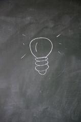 idea sign drawn with chalk on blackboard