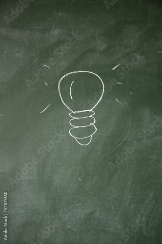 idea sign drawn with chalk on blackboard