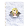 Girl around ring notebook with hole in the cover.
