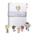 Kids around ring notebook with recycled cover.