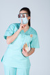 Nurse or doctor in pilot glasses with mask and money