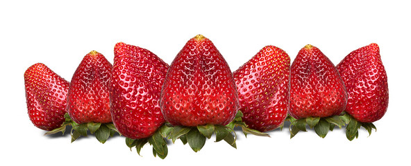 fresh red strawberry collection isolated