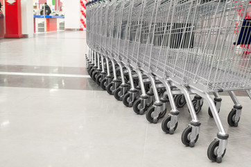 row of empty cart in the supermarket