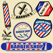 Set of vintage barber shop labels and stamps