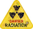radiation warning, weathered sign, dangerousness of atomic energ