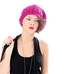 pretty woman wearing pink hat