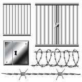 Jail grid with barbed wire set