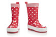 Red rubber boots for kids isolated on white background