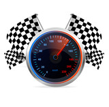 Racing Speedometer and checkered flags. Vector