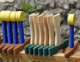 wooden toy swords for sale at the ancient games stand