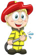 Boy firefighter fireman character cartoon style vector