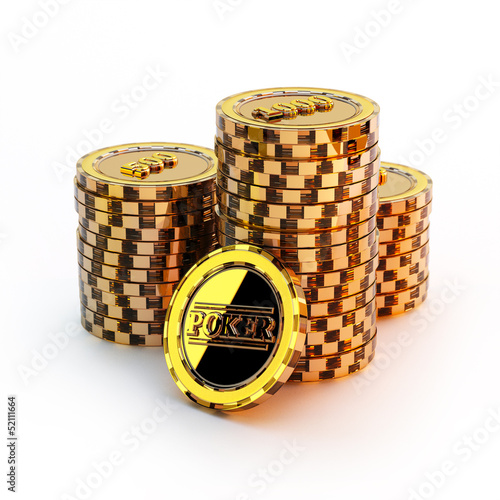 Tree stacks of golden Poker Chips on white background