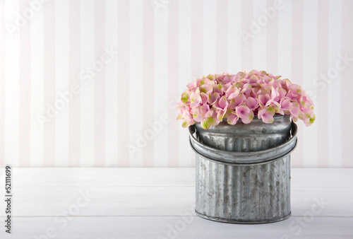 Hydrangea flowers in a metal bucket