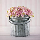 Pink hydrangea flowers in a metal bucket