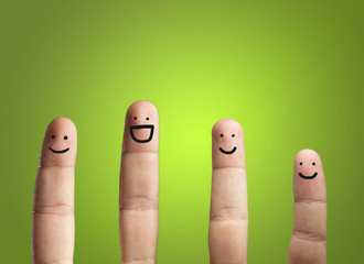 Close-up Of Fingers With Smiley Face