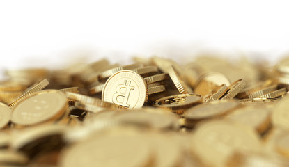 Golden Bitcoin background with dof