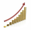 Golden coins - Making money graph - clipping path.