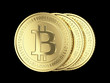 Golden Bitcoin coins - isolated with clipping path