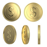 Golden dollar coins isolated on white with clipping path
