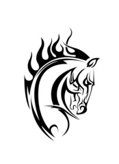 horse tattoo black and white