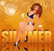 Summer time background with sexual woman, vector