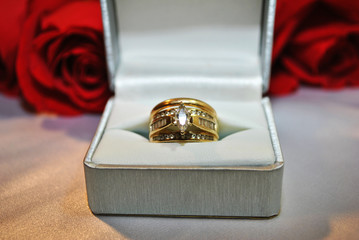 Diamond Rings with Red Roses in the Background