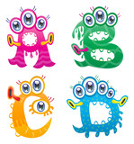 Cartoon monster letters from A to D