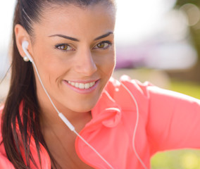Happy Woman Listening To Music