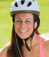Close-up Of Cyclist Woman