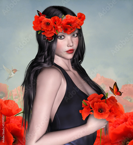 Beautiful woman portrait with crown of poppies