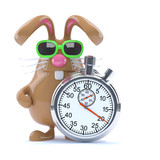 Chocolate bunny times the event with a stopwatch