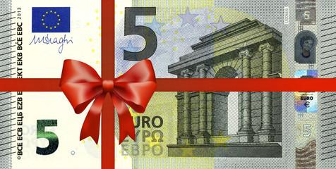 neuer 5 Euroschein mit Geschenkband