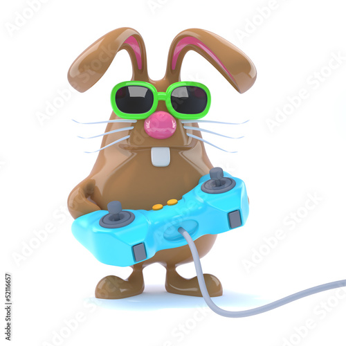 Chocolate bunny plays videogames