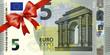 Leinwanddruck Bild - neuer 5 Euroschein mit rotem Band und Schleife