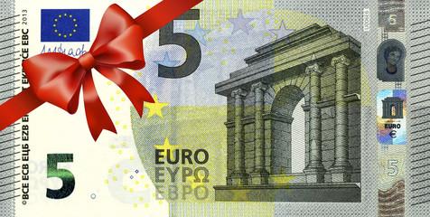 neuer 5 Euroschein mit rotem Band und Schleife