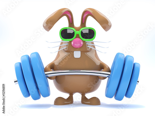 Chocolate bunny lifts some heavy weights