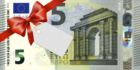 neuer 5 Euroschein mit rotem Band und Schleife und Label