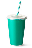 Green cardboard cup with a straw