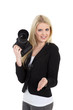Junge Fotografin begrüßt freundlich lächelnd