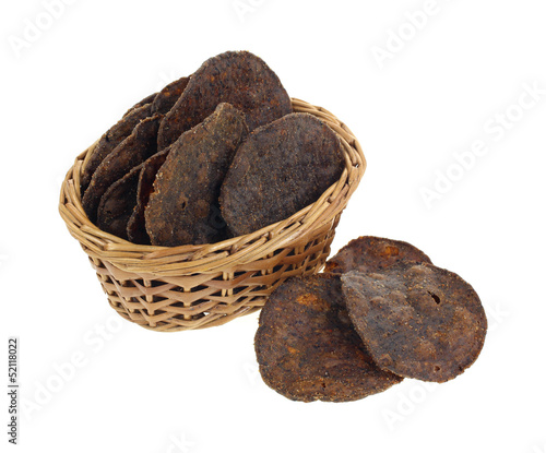 Black Bean Chips in Basket