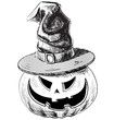Halloween pumpkin in magic witch hat