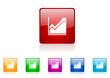 histogram vector glossy web icon set