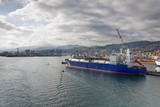 tanker in big italian port genoa, italy