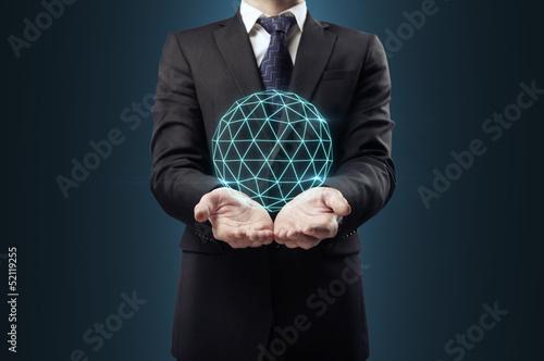man holding geospere