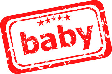 word baby on red rubber stamp