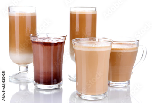 Layered coffee isolated on white