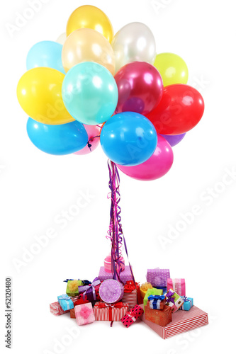 Many bright balloons and many gifts isolated on white